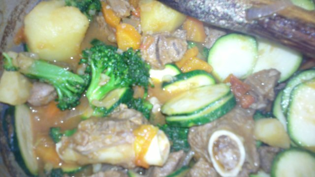 Broccolini in beef stew