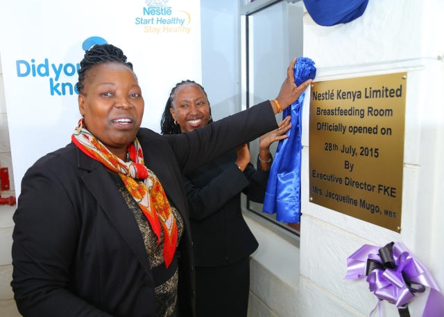 The Federation of Kenya Employers (FKE) CEO, Ms. Jacqueline Mugo and the Head of Nestle East African Cluster, Nestle Kenya Ms. Ciru Miring'u officially commission a breastfeeding room at Nestle Kenya. The facility will provide a conducive environment to facilitate mothers to continue breastfeeding at work.